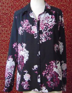 EAST 5th black floral polyester long sleeve blouse XL (T33-02C7G) #East5th #Blouse #Casual