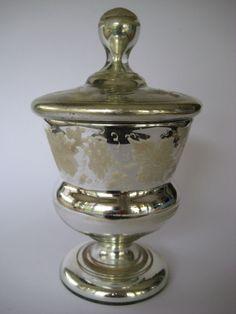 BEAUTYFUL ANTIQUE EUROPEAN BOHEMIAN MERCURY GLASS LID TIN CUP MUG CUP~ 1900 RAR