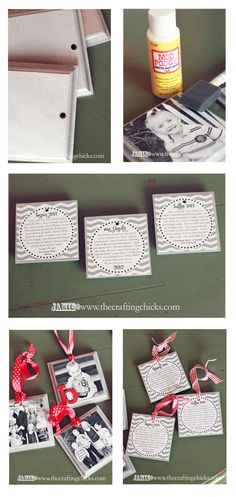 Homemade Photo Ornaments - pictures on the front and family memories and milestones on the back