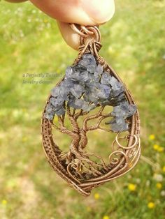 Wire Wrapped Tree of Life Pendant, Tanzanite & Iolite Gemstones, Handmade Jewelry Copper Wire Tree Jewelry