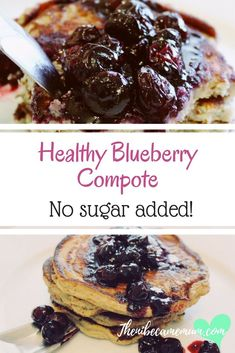 Healthy blueberry compote. No sugar added! Great for topping pancakes, porridge and other delicious foods. Healthy topping, healthy sauce, healthy compote