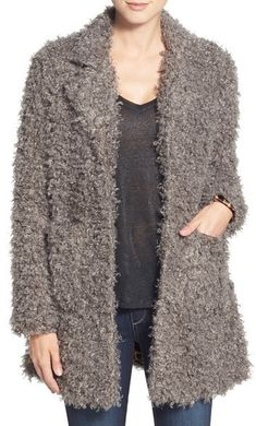 Steve Madden Faux Fur Coat available at White Skater Skirt, Black Lace Midi Dress, Ripped Boyfriend Jeans, White Skinny Jeans, Long Knit Cardigan, Crochet Cardigan, Steve Madden, Black Leather Chelsea Boots, Grey Fur Coat