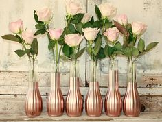 Rose Gold vases wedding decor Set of 12 CUSTOM by thepaisleymoon
