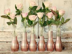 Rose Gold vases wedding decor Set of 12 CUSTOM by thepaisleymoon