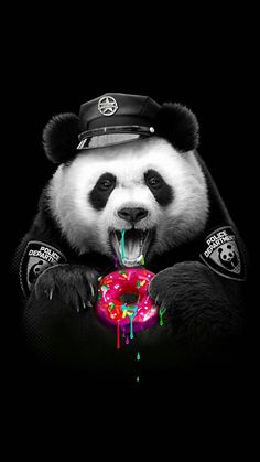 PANDA LOVES DONUTHigh-quality metal print from amazing Panda collection will bring unique style to your space and will show off your personality. Panda Wallpaper Iphone, Cute Panda Wallpaper, Hipster Wallpaper, Panda Wallpapers, Bear Wallpaper, Animal Wallpaper, Cute Wallpapers, Iphone Wallpapers, Wallpaper Desktop