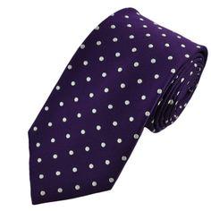 poka dot ties   Home › Ties › Polka Dot Ties › Purple & White Polka Dot Silk Tie