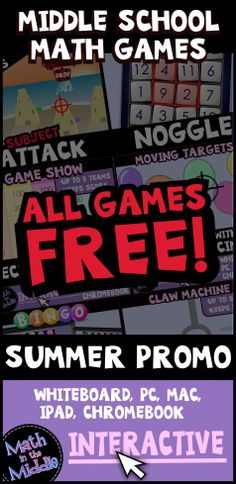 Play a wide variety of fun interactive middle school math games FREE through September 1st with promo code Summer2017!