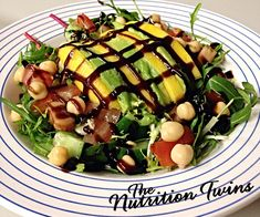 Arugula, Avocado, & Mango Salad | Sweet, Crunchy, Creamy- delicious! | 10g fiber, 10 g protein, and < 300 calories! | For MORE RECIPES please SIGN UP for our FREE NEWSLETTER NutritionTwins.com