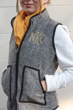monogrammed herringbone vest Fall Fashion 2016, Autumn Fashion, Herringbone Vest, Classy And Fabulous, Ruffle Blouse, Monogram, Trending Outfits, My Style, How To Wear
