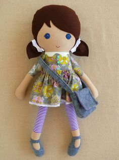 Reserved for Dyanna - Fabric Doll Rag Doll Brown Haired Girl in Gray Geometric Print Dress: