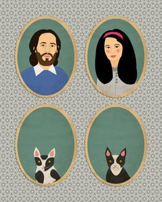 "Family portrait w/Kitties by Lili DiPrima via Etsy, $124.72 + Ship  -  Mat Size is 8"" x 10""  -  She does amazing pet portraits!   (04.22.14)"