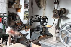 A shoemakers at the Black Country Museum. Love the sewing machine