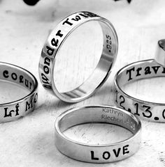 Custom Ring hand stamped with your message  by KathrynRiechert, $30.00.