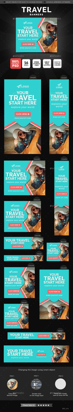 Travel Banners Template #design Download: http://graphicriver.net/item/travel-banners/12418761?ref=ksioks