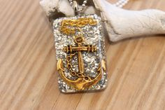 Lost At Sea Glitter Gold n Sliver Resin Anchor by tranquilityy, $7.25