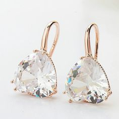 Rose Gold Crystal Heart Cubic Zircon Dangle Earrings Summer Style Jewelry