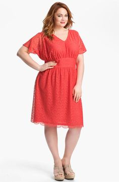 Adrianna Papell Empire Waist Lace Dress (Plus) | Nordstrom