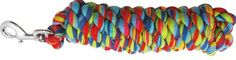 Showman 10' multi color braided cotton lead with swivel bolt snap