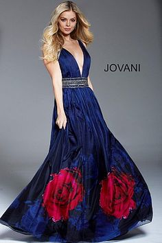 Navy Floral Print Backless Embellished Belt Formal Gown 57974  #LowVNeckDress #PlungingDress #Prom #Jovani