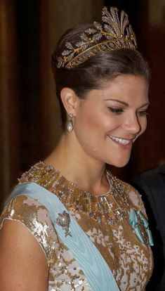 December 3, 2013: Crown Princess Victoria of Sweden wearing a steel cut tiara.