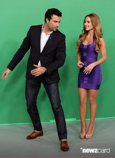 Jaime Camil and Ximena Cordoba are seen on the set of Univision's 'Despierta America' morning show at Univision Headquarters on September 23, 2013 in Miami, Florida. (Photo by Alexander Tamargo/Getty Images)