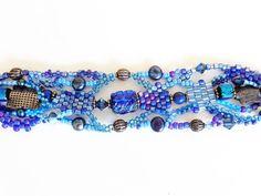 Blue Freeform Peyote Stitch Beadweaving Bracelet by dorothydomingo, $75.00