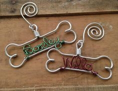 Personalized Pet Ornament - Handcrafted Wire Dog Bone with Pet's Name - Dog Christmas Gift on Etsy, $14.00: