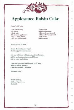 No Cook Desserts, Cookie Desserts, Delicious Desserts, Apple Recipes, Snack Recipes, Cupcake Recipes, Raisin Cake, Apple Spice Cake, Apple Cake