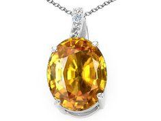 Tommaso Design Genuine Oval Citrine and Diamond Pendant Necklace