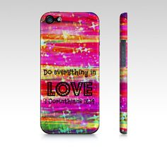 DO EVERYTHING in LOVE  iPhone 4 4S or 5 5S 5C  Case by EbiEmporium, $40.00 #Christian #Jesus #God #pink #purple #yellow #radiant #orchid #galaxy #galactic #cosmos #bold #strength #verse #wisdom #Religious #Bible #Biblical #Verse #Faith #Truth #Corinthians #Love #Religion #Inspiration #Motivation #Believe #Belief #Pink #Feminine #tech #device #iPhone #case #cover #God #Stars #Neon #Stripes #Girlie #Phone #Accessories