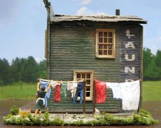 Clothesline with Clothes HO Scale