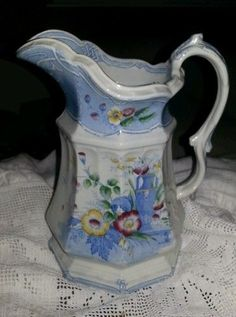 Wow!!!! 1850s English Staffordshire 8 panel pitcher!!! 8.5 in tall. Awwwwesome…
