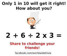 The solution to - 2 + 6 ÷ 2 x 3 = · World Wide Trivia Math Games, Maths, Riddles, Growing Your Business, Trivia, Equation, Challenges, How To Get, World