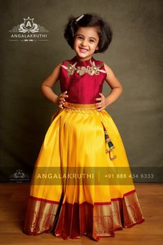 kids pattu pavadai designs reshmi pavada designs for girls in india by Angalakruthi Kids Party Wear Dresses, Kids Dress Wear, Kids Gown, Dresses Kids Girl, Kids Wear, Girls Frock Design, Baby Dress Design, Baby Frocks Designs, Kids Frocks Design