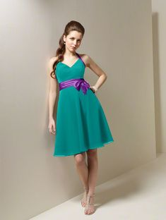 turquoise and purple dress