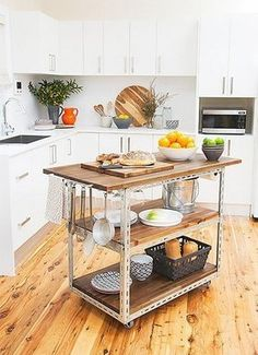 doing this soon...... with a matching shelving unit.... small spaces= much needed movable storage space.