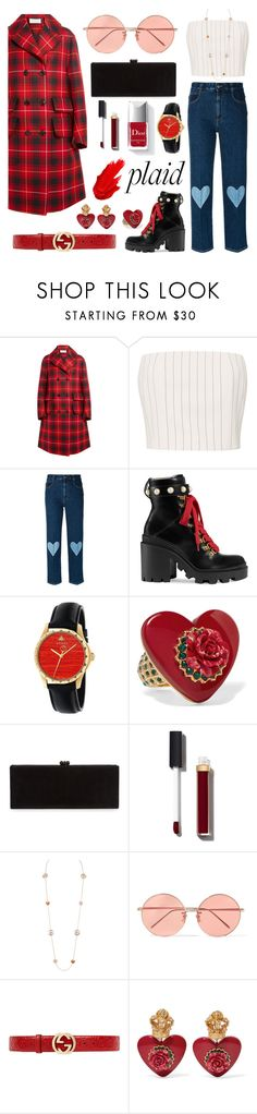 """Plaid"" by patilez ❤ liked on Polyvore featuring Gucci, Thierry Mugler, STELLA McCARTNEY, Dolce&Gabbana, Edie Parker, Chanel, Couture Colour, Linda Farrow and Maybelline"