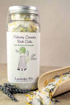 Relaxing and calming bath  salts - hand-crafted in our studio using our lavender buds and calendula petals!