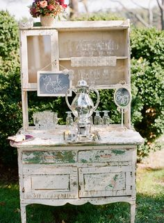 shabby chic hutch for beverages