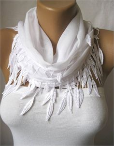White scarfCotton Scarf with Trim Edge ShawlSummer by MebaDesign, $13.90