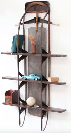 This vintage sled makes for the coolest bookcase! Perfect for a narrow space, mountain home or anyplace you're trying to add some vintage rustic charm                                                                                                                                                                                  More