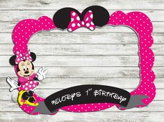 Minnie mouse foto stand prop, archivo DIGITAL, personalizar foto booth props - cumpleaños - prop de la cabina de foto para imprimir - foto cabina marco Mickey Birthday, Mickey Party, 1st Birthday Girls, Minnie Y Mickey Mouse, Minnie Mouse Baby Shower, Photo Booth Props, Photo Booths, Party Frame, Mouse Photos