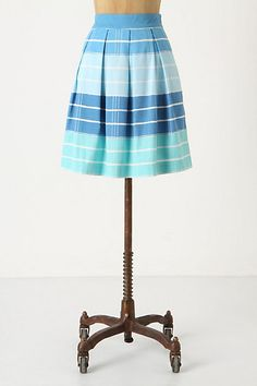 Pleated cotton blue stripe skirt