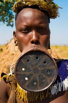A dying cultural practice: A Mursi woman wearing a lip plate. Lip plates were a sign of endurance, maturity and beauty.