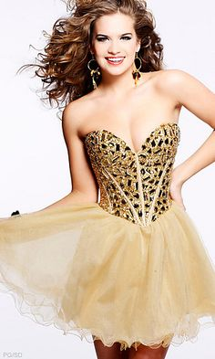 Strapless Gold Dress by Sherri Hill.