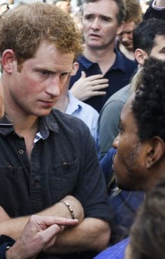 Britain's Prince Harry speaks to residents of 'Cracolandia' one of soa paulo s  poorest neighbourhoods News Photo 451255396