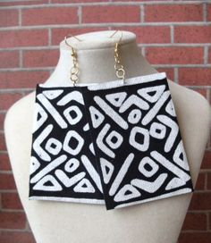 Mudcloth rectangle shaped fabric earrings by earjeans on Etsy, $16.50