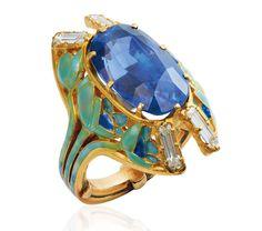 Lot 22: Art Nouveau saphire, enamel and diamond ring by Rene Lalique, circa 1900, estimate 30,000 - 35,000 CHF (£23,000 - £28,000)