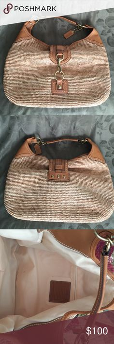Coach Xl straw tote Beautiful large natural straw with honey color leather trim. Gold brass hardware. Inside is cotton lining. Leather shoulder handle has two tiny spots. Shown in last pic. Hardly noticeable. No trades Coach Bags Totes