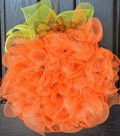 Harvest Pumpkin Deco Mesh Wreath by WelcomeHomeWreath on Etsy.